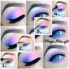 inspired eyeshadow tutorial (Maya_Mia_Y via I Love Cute Shoes) Mais Makeup Eye Looks, Purple Eye Makeup, Colorful Eye Makeup, Cute Makeup, Gorgeous Makeup, Pretty Makeup, Makeup Inspo, Makeup Art, Makeup Inspiration