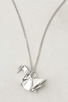 Origami Necklace, Silver Swan Really cute. Swan Necklace, Arrow Necklace, Silver Necklaces, Silver Jewelry, Origami Necklace, Origami Swan, Silver Swan, Baubles And Beads, Anthropologie Jewelry