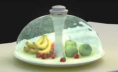 Fruit bowl is protected by dome of flowing water. When you want to take one out, a sensor sees your hand approaching and parts the water to allow you to get through.
