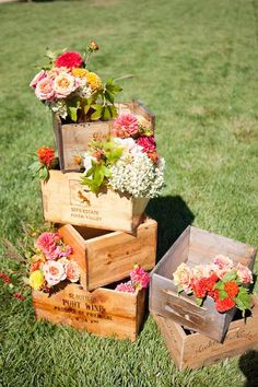 Valley Flora Jen Philips Photography - filled with orange and white flowers wine boxes