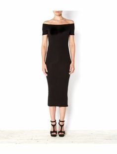 Black (Black) Rubee B Black Bardot Neck Midi Dress | 294826801 | New Look