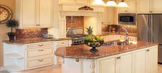 granite with white cabinets - Google Search