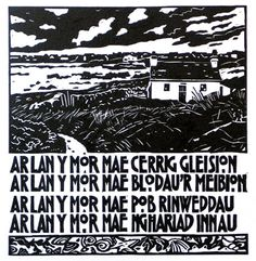 """The words on the print are a line from a Welsh folksong.  """"Beside The Sea Blue Pebbles Lying""""      Ann Lewis-Artist/Printmaker website: http://www.annlewis.co.uk/  Ar Lan y Mor (Beside the Sea) is a traditional Welsh folksong.  http://ebook.cowensw.co.uk/poems/ar-lan-y-mor/  Ann Lewis - Artist/Printmaker"""