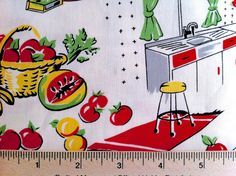 Michael Miller Fifties Retro Vintage Kitchen C1595 Cream 10th Anniversary. $5.35, via Etsy.