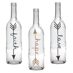 Set of 3 Faith Hope Love Wine Bottle with Arrow Design by LEVinyl
