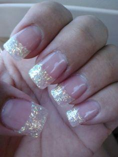 White neon glitter powder nails tip