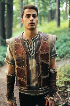 """Купить Жилет мужской валяный коричневый """"Викинг"""" - коричневый, викинги, викинг…"""