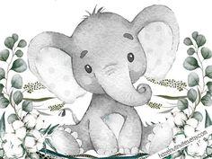 Elephant Baby Shower Invitation Gender Neutral Baby Shower