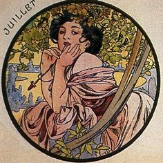 Alfonse Mucha month of July. lady is blazin'