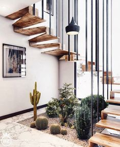 Minimal Interior Design Inspiration 180 UltraLinx floating stairs with living desert plants Interior Design Inspiration, Home Interior Design, Interior Decorating, Design Ideas, Diy Interior, Home Stairs Design, Stair Design, Staircase Interior Design, Interior Design Examples