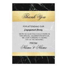 Wedding Thank You Card Black Marble Gold Art Deco