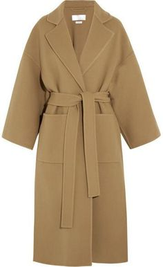 Nadire Atas on Classic Elegance in Fashion Belted Wool-Blend Wrap Coat Material: Wool Blends: Polyester Loewe Inspired Coats Oversized Mantel, Oversized Coat, Brown Wool Coat, Wool Coats, Mantel Beige, Camel Coat Outfit, Mode Mantel, Outfit Invierno, Langer Mantel