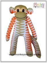 Beige and orange chevron sock monkey Gorgeous handmade sock monkey from one pair of socks! Sock Monkey from Monkey and Me FREE GLOBAL SHIPPING  Cute kids newborn sock monkey toy to decorate any gorgeous nursery #sockmonkey #sockmonkeys #sockmonkeymania #monkeyandme www.monkeyandme.com.au