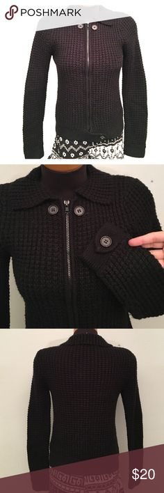 LUX by Urban Outfitters Black sweater jacket Zipper on front. Cute button detail on collar, cuffs and bottom of zipper. Good Used condition. 100% Acrylic (S3B) Urban Outfitters Sweaters