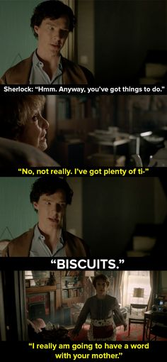 """When Sherlock wanted biscuits but Mrs Hudson wouldn't stop talking about relationships.   14 Times Mrs Hudson Was The Best Thing About """"Sherlock"""""""