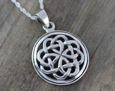 Sterling silver Celtic Pendants, Celtic jewelry, Celtic Knot Friendship Necklace. Mens Leather & sterling silver chains, Irish jewelry. 065