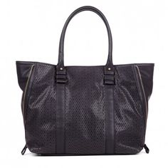 Women's Black Faux Leather Perforated Side Zip Shopper | Janelle by Sole Society