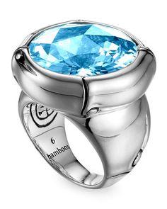 John Hardy Batu Bamboo Silver Blue Topaz Ring - Neiman Marcus