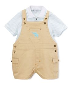 Look at this Quiltex Blue Stripe Polo & Brown Elephant Overalls- Infant on #zulily today!