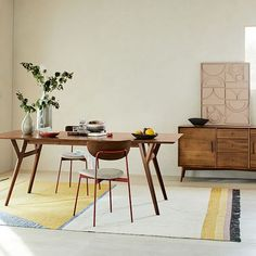 "Mid-Century Expandable Dining Table, 39-55"", Walnut 