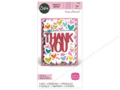 """Sizzix Dies help eliminate all that tedious and time consuming hand cutting. Great for paper and fabric, just insert your chosen die into one of the many different Sizzix die-cutting machines, SOLD SEPARATELY, and away you go. Stephanie Barnard Framelits Card Drop-ins Thank You- 4 metal dies that include a caption of """"Thank You"""", a background, clusters of hearts and a frame for it all. Largest measures approximately 4.25""""x 5.5""""."""