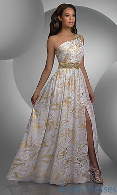 One Shoulder Metallic Print Prom Dress by Shimmer at SimplyDresses.com