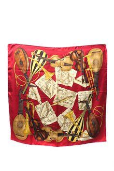 6cbf10ae5c1b Trussardi Burgundy Red Silk Graphic Printed Musical Scarf  Trussardi  Scarf