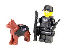 SWAT Police Officer K9 Made With Real LEGO(R) Mini-Figure Parts