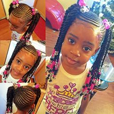 Little Black Girls Hairstyles : Such a beautiful natural hairstyle for a little girl. Such a beautiful natural hairstyle for a little girl. Little Girl Braid Styles, Kid Braid Styles, Little Girl Braids, Black Girl Braids, Braids For Kids, Girls Braids, Kid Braids, Kid Styles, Braids Cornrows