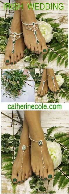 Emerald green barefoot sandals. Find the perfect green foot jewelry for your Irish wedding