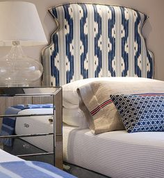 love the headboard material, not so much the shape.... via pink wallpaper blog