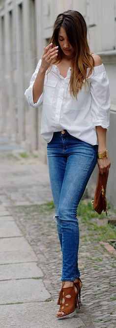 White Off The Shoulder Shirt Casual Style