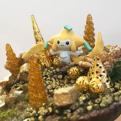 it's not amused... ___________ #jirachi #pokemon #pokemonDiorama #legendaryPokemon #sharksnail Etsy, Christmas Ornaments, Holiday Decor, Party, Dioramas, Pokemon Images, Miniature, Craft Gifts, Nice Asses