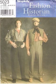 Simplicity 5023 FASHION HISTORIAN  Martha McCain Mens Shirt and Pants  Civil War Costume Sewing Pattern by mbchills
