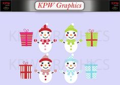 Snowmen and Presents Clip-art Set in a PNG format. Personal & Small Commercial use Clipart Images, Snowmen, Commercial, Presents, Clip Art, Invitations, Digital, Handmade Gifts, Cards