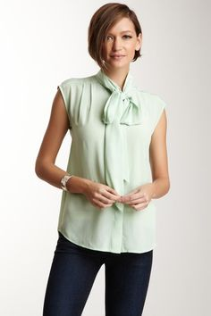 Pippa Silk Bow Tie Top in Pistachia pale mint green