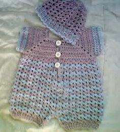 0024B Baby Boy Crochet Blue Kisses Romper Set by CARUSSDESIGNZ