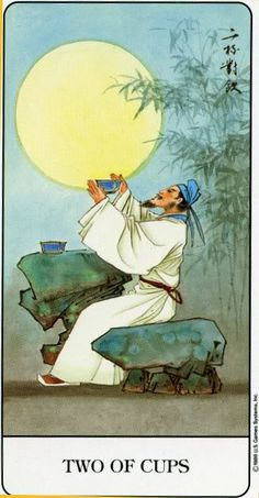 Chinese Tarot - Two of Cups - If you love Tarot, visit me at www.WhiteRabbit Tarot.com