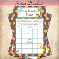 Baby Shower Bingo Game  Jungle Safari  Instant by AKissOfThis, $4.00