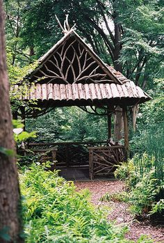 Fireplace - Home and Garden Design Ideas Garden rustic gazebo rose arbor Cottage garden Outdoor Rooms, Outdoor Gardens, Outdoor Living, Rustic Gardens, Wood Gardens, Rustic Outdoor Spaces, Zen Gardens, Garden Structures, Outdoor Structures