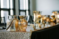 An industrial Toronto warehouse wedding venue space pairs well with gold color scheme. Then there is that fabulous gold sequin table runner - swoonworthy!