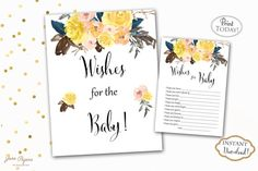 Wishes for The Baby are a great way to add that special touch to your baby shower. You can set them up next to the sign by the gift table so every guest can see them and fill them out with their wishes for the baby. All of them can be kept as keepsakes or added to the baby's scrapbook. INSTANT DOWNLOAD - wishes for the baby watercolor yellow florals with navy blue accents sign and cards. Find more coordinating printables at JanePaperie: https://www.etsy.com/shop/JanePaperie