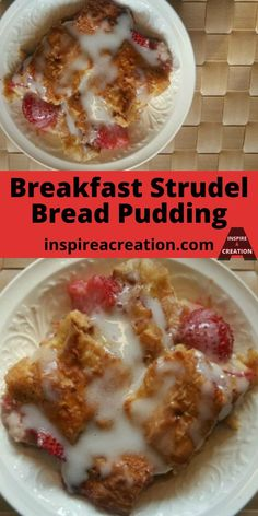 Breakfast Strudel Bread Pudding-Get it here! I was looking in my freezer and wondering what to do with those toaster strudels when this recipe was born. Breakfast Bread Recipes, Easy Brunch Recipes, Breakfast Pastries, Best Dessert Recipes, Fun Desserts, Breakfast Ideas, Pie Pastry Recipe, Pastry Recipes, Strudel