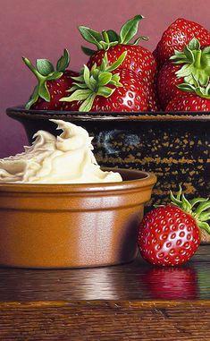 New Painting – Strawberries & Cream Realistic Paintings, Sugar Rush, Strawberries And Cream, Food Photo, Strawberry, Detail, Life, Art, Wine Cellars