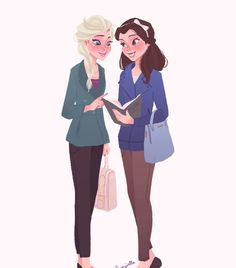 Belle and Elsa art. This is amazingly wonderful. <<< I like to imagine that they'd be good friends