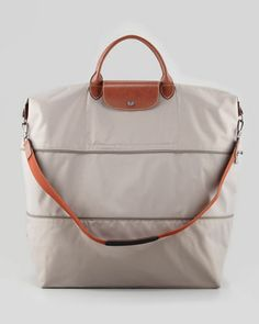 Le Pliage Expandable Travel Tote Bag, Light Gray by Longchamp at Neiman Marcus. $255