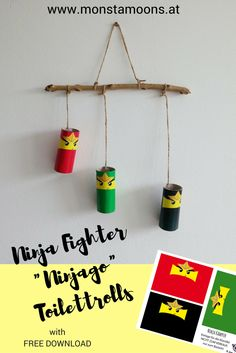 Ninjagi decoration made out of toilettrolls. #papercraft #toilettrolls #ninjago #lego #paperrolls