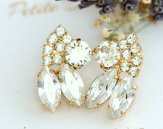 Rosa aretes de oro pendientes de novia Blush pendientes por iloniti