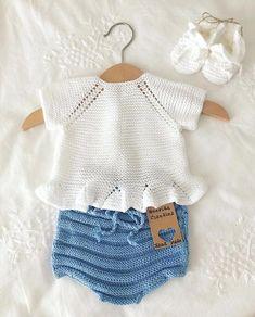 Strikket genser for barn i DROPS Sky. Arbeidet går fra topp til bunn & Knitting For Kids, Baby Knitting Patterns, Crochet For Kids, Baby Patterns, Crochet Baby, Knitted Baby, Baby Outfits, Toddler Outfits, Baby Dresses