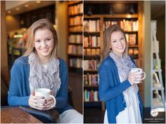 Senior portrait session in a coffee shop. Photo of a high school senior girl. Birmingham, AL senior photography.  http://www.heatherdurhamphotography.com